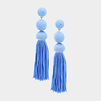 Thread Ball Tassel Earrings