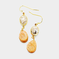 Oval Semi Precious Genuine Druzy Teardrop Dangle Earrings