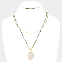 Beaded Layered Semi Precious Pendant Necklace