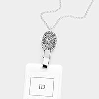 Filigree Pave Rhinestone ID Holder Necklace