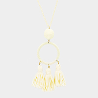 Beaded Thread Hoop Triple Tassel Long Necklace