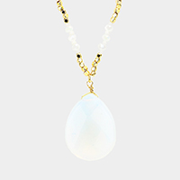 Beaded Semi Precious Teardrop Pendant Long Necklace