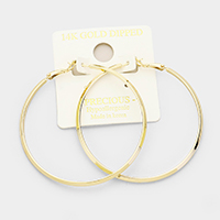 14K Gold Dipped Metal Hoop Hypoallergenic Earrings