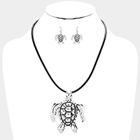 Cord Metal Turtle Pendant Necklace