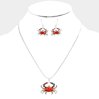 Enamel Crab Pendant Necklace
