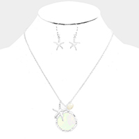 Mother of Pearl Metal Starfish Pearl Pendant Necklace