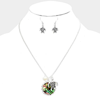 Abalone Metal Turtle Pearl Pendant Necklace