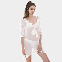 Drawstring Swimwear Cover Up Tunic Top