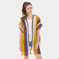 Stripe Half Sleeves Poncho