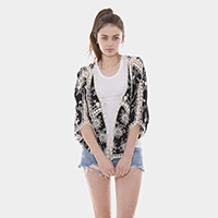 Embroidery Flower Crochet Open Poncho