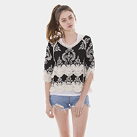 Embroidery Crochet Open Poncho