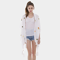 Embroidery Flowers Tassel Open Poncho