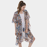Abstract Pattern Long Poncho