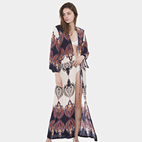 Abstract Pattern Drawstring Waist Long Poncho