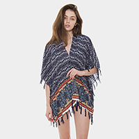 Abstract Pattern Tassel Open Poncho
