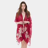 Embroidery Floral Open Poncho