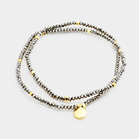 Beaded Metal Disc Charm Stretch Wrap Bracelet