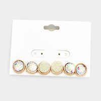 3Pairs Mixed Faux Druzy Mermaid Circle Stud Earrings