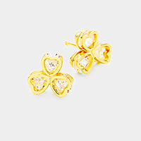 Cubic Zirconia Clover Stud Earrings