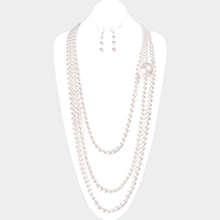 Triple Layered Chunky Pearl Accented Bib Necklace