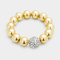 Pearl Beaded Fireball Accented Stretch Bracelet