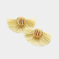 Two Tone Seed Bead Cluster Detail Fan Tassel Earrings