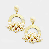 Thread Ball Metal Hoop Pearl Cluster Earrings