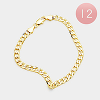 12PCS - Gold Plated Cuban Chain Metal Bracelets