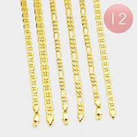 12PCS - Gold Plated Assorted Concave Textured Chain Bracelets