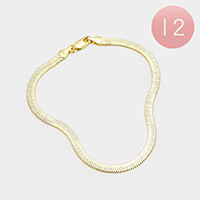 12PCS - Gold Plated Superflex Herringbone Chain Bracelets