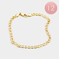 12PCS - Gold Plated Mariner Chain Metal Bracelets
