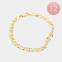12PCS - Gold Plated Concave Textured Mariner Chain Bracelets