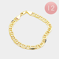 12PCS - Gold Plated Concave Textured Mariner Chain Metal Bracelets