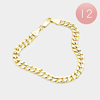 12PCS - Gold Plated Concave Cuban Chain Metal Bracelets