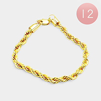 12PCS - Gold Plated Rope Chain Metal Bracelets