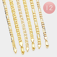 12 PCS - Gold Plated Assorted Concave Chain Necklaces