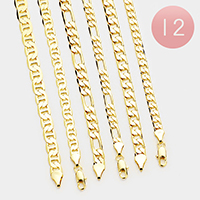 12 PCS - Gold Plated Assorted Chain Metal Necklaces