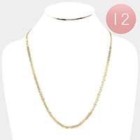 12 PCS - Gold Plated Concave Textured Mariner Chain Necklaces