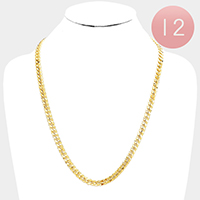 12 PCS - Gold Plated Concave Cuban Chain Metal Necklaces