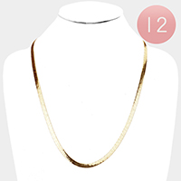 12 PCS - Gold Plated Superflex Herringbone Chain Necklaces