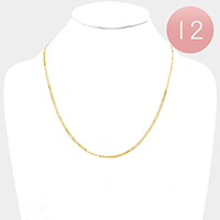 12 PCS - Gold Plated Thin Mariner Chain Metal Necklaces