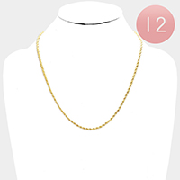 12 PCS - Gold Plated Rope Chain Metal Necklaces