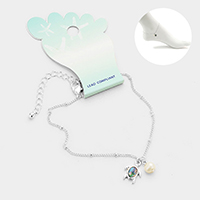 Abalone Turtle Pearl Charm Anklet