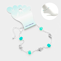 Sea Glass Metal Shell Link Anklet