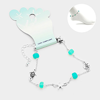 Sea Glass Metal Starfish Shell Turtle Crab Link Anklet