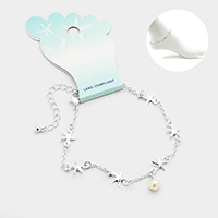 Metal Starfish Link Pearl Charm Anklet