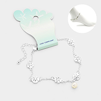 Metal Sand Dollar Link Pearl Charm Anklet