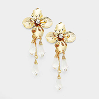 Stone Metal Flower Drop Triple Clear Bead Dangle Earrings