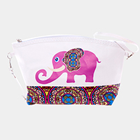 Elephant Print Zipper Pouch Bag