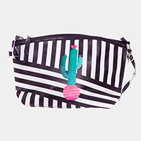 Striped Cactus Print Zipper Pouch Bag
